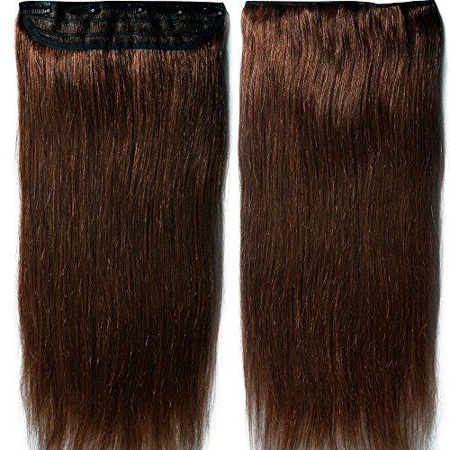 Clip in Extensions Echthaar - Remy Echthaar Haarteil 1 Tresse mit 5 clips Haarverlängerung 55cm-100g (#4 Mittelbraun)