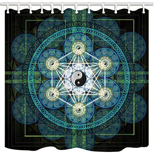 Rrfwq Chinesischer Stil Vorhang für die Dusche von Schwanz Chi Disk Zen türkis Badezimmer Polyester-Schimmelresistent-Wasserdicht Duschvorhang Set mit Haken 180x 180cm