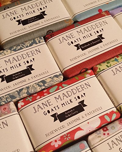 Jane Maddern Goats Milk Soap - ROSEWOOD, JASMINE & PATCHOULI. 90g. A traditionally made, nourishing and moisturising soap. Top quality, ethically sourced ingredients including full cream goats milk, coconut oil, shea butter and olive oil. Suitable for all