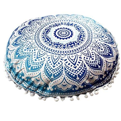 Oferta de Liquidación! Colchón Cubierta de edredón Indian Mandala Pillows Round Bohemian Cojín de la casa Almohadas Cubierta Cojines de Caja Manadlian (G)
