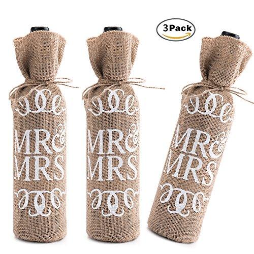 ack Jute Tasche Mr and Mrs Weinflasche Pouches für Champagner Sekt Flasche Beutel Natur Burlap Sackleinen Leinen Verpackung Staubbeutel Halterung Geschenktüten Party Geschenk Vintage Deko LONGBLE (Sackleinen-tasche)