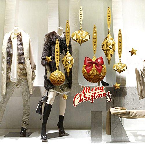 RN00118 Adesivi murali - Pendenti dorati con fiocco - Vetrofanie natalizie - Misure 60X70 cm - Decorazioni vetrine per Natale, stickers, adesivi
