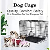 """Despacito Metal Foldable Dog cage for Puppy, Crate, Double Door Pet House for Dogs/Cats,Feeder Bowl for Dogs (17 * 24 * 20"""" I"""
