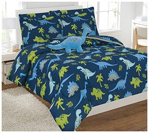 Twin & Full 6PCS oder 8PCS Tröster/Überwurf/Bett in Set mit Tasche Spielzeug, Polyester-Mischgewebe, Blue Dinasour, Volle Größe -