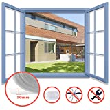Homein Window Fly Screen White 130x150CM, Window Insect Screen Fly Screen for Windows Insect Mesh Adjustable Mosquito Net Removable Bug Protector Kit Include Upgraded Self Adhesive Tape Pressing Tool