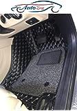 AutoZing 7D Car Floor Mats (Black) Complete Set for Hyundai Creta 2020