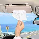 seOSTO Car Tissue Holder, Car Visor Tissue Holder, PU Tissue Box Holder Storage Cases Car Assecories for Men Women(beige leat