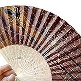 Fulltime(TM) Abanico de Boda Plegable de Mano Halloween calabaza cráneo araña bruja tallada a mano de bambú plegable abanico estilo de madera