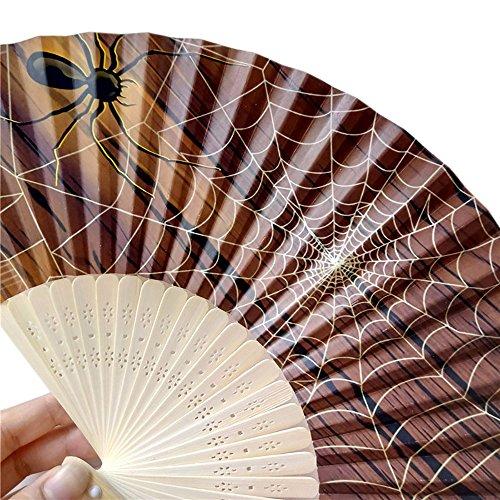 VEMOW Heißer Halloween Party Kürbis schädel spinne Hexe Handgeschnitzten Bambus Folding Fan Stil Holz(F, 23cm*40cm)