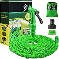 100FT Expanding Garden Water Hose Pipe with 7 Function Spray Gun Expandable Flexible Magic Hose Anti-leakage Lightweight Easy Storage (Green)