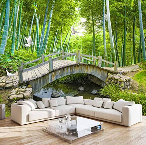 Bambus-brücke (Keshj Kleine Brücken Benutzerdefinierte Fototapete 3D Bambus Wald Landschaftsmalerei Wanddekoration Wohnzimmer Schlafzimmer Tapete-120cmx100cm)