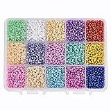 PH PandaHall Über 6750pcs 15 Farbe 8/0 Glas Rocailles 3mm Mini Perlen mit Container Box für Schmuck Machen