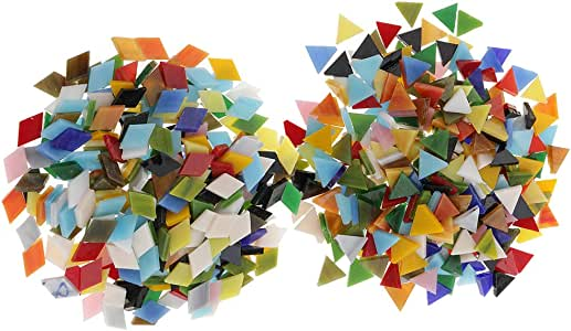 Baoblaze 600 Pieces Colored Stained Glass Mosaic Tiles Pieces Rhombus Square Shapes for Kids Mosaic Making Art Craft and Kitchen Home Decorations DIY Supplies
