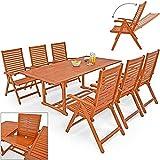 Deuba® Sitzgruppe Unikko 6+1 ✔ mit 6 verstellbaren Stühlen ✔ ausklappbarer Tisch - 2 x 1,50 Meter ✔ Eukalyptusholz ✔ Sitzgarnitur Gartengarnitur Essgruppe ✔ Modellauswahl