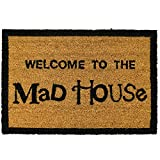 Front Welcome Door Coir Mat - Absorbent Non Slip Coco Doormat - Entrance Coconut Matting in Many Designs with Rubber Backing - 60x40cm - Rug by ASAB - Welcome to the Mad House