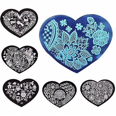 Shemrow Lot de 10plaques de stamping nail art Nail Art Stamper Grattoir