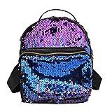 Frauen Tasche Frauen Rucksack Korean PU Leder Pailletten Bling Rucksäcke, Damen, Blau