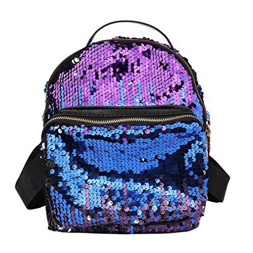 Kenneth Cole Designer-handtasche (Frauen Tasche Frauen Rucksack Korean PU Leder Pailletten Bling Rucksäcke, Damen, Blau)