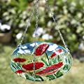 Hanging glass birdbath (poppy design)