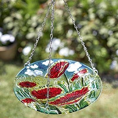Hanging glass birdbath (poppy design)