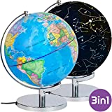 Premium 3-1 Illuminated Constellation Globe Educational Geographic World Globe LED Light Up Celestial Globe For Night View Detailed World Map Glow-In-The-Dark Night Lamp - Office, Home, Classroom