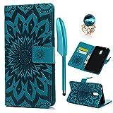 Hülle für Nokia 6 Case Cover YOKIRIN Sonne Blume Lederhülle Handyhülle PU Leder Schutzhülle Flip Schale Handytasche Magnetverschluss Kunstleder Bookstyle Tasche Kartenfach Ständer Blau