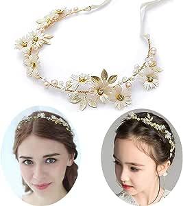 Fascia da Sposa Cristallo Perle capelli Halo strass fiore nuziale capelli Vine