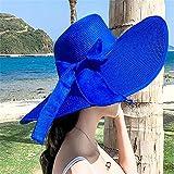 GAOQIANGFENG Womens UPF 50 + Strohhut, Sommer Strandhut, Strand Reisen, Urlaub Hut, Sonnenhut, Sonnenschutz, Falten, große Traufe, Sonnenschirm Hut, Blau