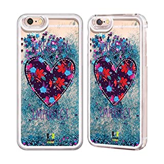 Head Case Designs Floral Heart Patches Sky Blue Liquid Glitter Case Cover for Apple iPhone 6 / 6s
