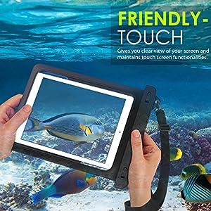 MoKo Funda Impermeable - Funda Bolsa Impermeable IPX8 para iPad 9,7 2017/2018 iPad Mini 4 3 2 1/ G Pad 7.0/8.0/8.3/ Samsung Tab 5,S2 9.7, y Tableta 8.4 Pulgadas - IPX8 Certificado, Negro