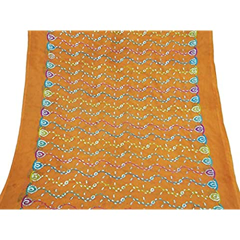 Vintage Dupatta Sciarpa lunga indiano puro chiffon ricamato arancione Veil Stola