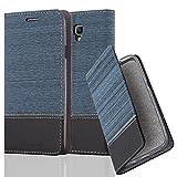 Cadorabo Hülle für Samsung Galaxy Note 3 NEO - Hülle in DUNKEL BLAU SCHWARZ – Handyhülle mit Standfunktion und Kartenfach im Stoff Design - Case Cover Schutzhülle Etui Tasche Book