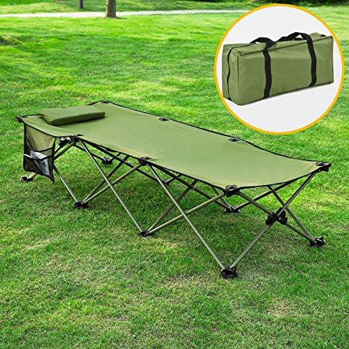 SoBuy® Brandina da campeggio, lettino da spiaggia, prendisole,pieghevole, con borsa,OGS30-GR,IT