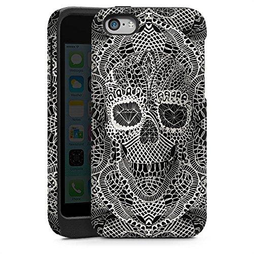 Apple iPhone 5 Housse étui coque protection Crâne en dentelle Tête de mort Motif Cas Tough brillant