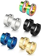 Jaetech House 4 Paar Edelstahl Huggie klappbar Ring Ohrringe - Inklusive Ohrringe für Männer - Schwarz, Blau, Gold und Silber Reifen für Männer 9mm
