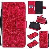 Guran® Funda de Cuero Para Wiko Pulp Fab 4G Smartphone Función de Soporte con Ranura para Tarjetas Flip Case Cover-rojo