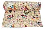 Kiara, indische Baumwolle Quilt- und coverlets, Paisley-Muster, Überwurf, Tagesdecke, Doppelbettgröße, Kreuzstich, Queen-Size, Baumwolle, gebrochenes weiß, Twin