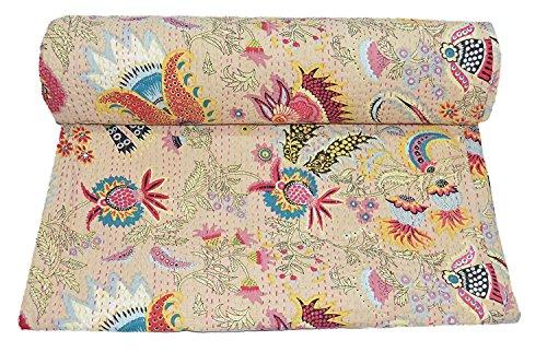 Kiara, indische Baumwolle Quilt- und coverlets, Paisley-Muster, Überwurf, Tagesdecke, Doppelbettgröße, Kreuzstich, Queen-Size, Baumwolle, gebrochenes weiß, Twin -