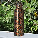 JaipurCrafts Pure Copper Modern Art Printed And outside Lacquer Coated Bottle, Travelling Purpose, Yoga Ayurveda Healing, 1000 ML