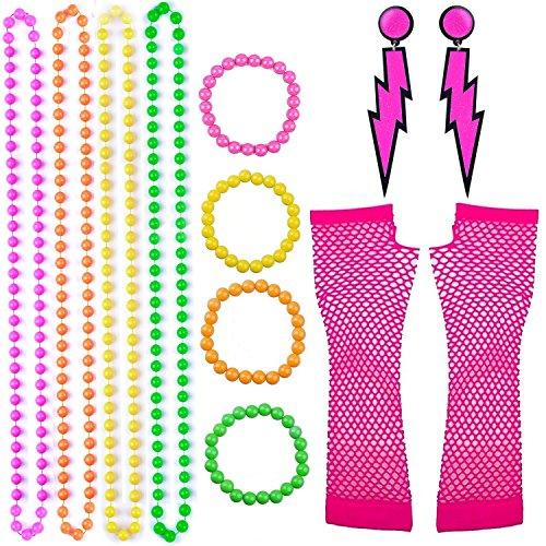 enhuton 12 Stücke bunt Fluoreszierende Perlen Halsketten Armbänder Blitz Neon Ohrringe Lange Fischnetz Handschuhe 80er Party Kleid Zubehör Set (Helle Farbige Kostüm Schmuck)