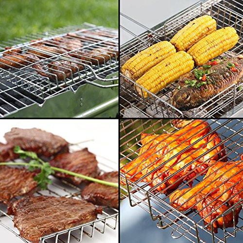 61FjHK%2BZ4IL - WolfWise Grillkorb Fischbräter, Gemüsekorb Burger Grillwender, Grillrost Grill Basket mit Abnehmbarem Griff, aus 430 Edelstahl, Rostfrei