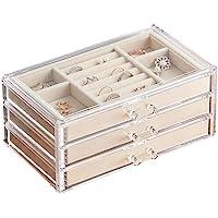 MMBOX - Portagioie da donna con 3 cassetti, in velluto, per orecchini, bracciali, collane e anelli, in acrilico…