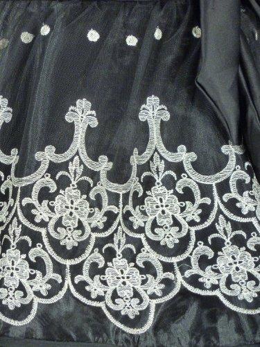 Samtlebe® - Cocktailkleid Abendkleid mit aufwendiger Stickerei knielang 5018 in Schwarz Gr. S - XL Schwarz