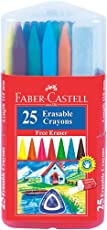 Faber-Castell Erasable Plastic Crayon Set - 110mm, Pack of 25 (Assorted)