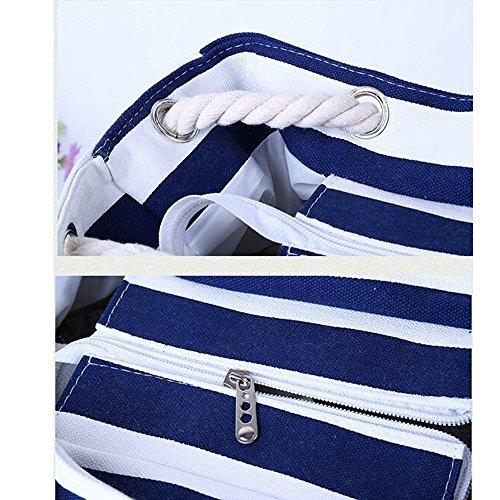 Minetom Donne Grande Spiaggia Borsa Shopper Handbag Classico Striscia Borsa Blu Grande