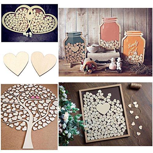 100Pcs Wooden Love Heart Shape Embellishment Plaques Wedding Craft 20/30/40mm size 40mm 100pcs
