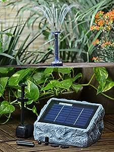 solar teichpumpe gartenbrunnen mit akku und led licht wasserspiel zierbrunnen vogelbad. Black Bedroom Furniture Sets. Home Design Ideas