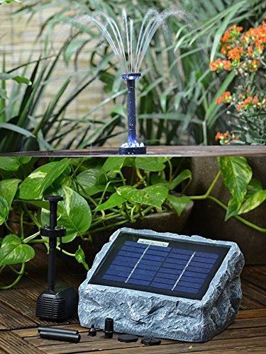 Pompa solare - pompa a energia solare rÜgen 200-1 - pompa acqua solare - fontana da giardino - pompa solare per giardino fontana a cascata - pompa solare per laghetto pannello solare 2 watt, max. 250l/h fontana solare per stagno in ottica di pietra