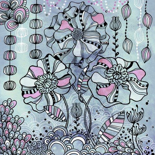 Wheatpaste Art colectiva Cosmic jardín Arcadia por Joan Coleman Lienzo, 24por 24Pulgadas