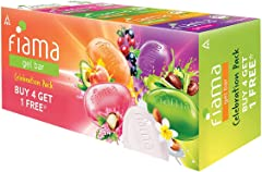 Fiama Gel Bar Celebration Pack with 5 unique Gel Bars, with skin conditioners for moisturized skin, 125g soap (Buy 4 get 1 Fr